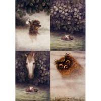 Декупажная карта А4 Ёжик в тумане