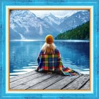 Девушка у озера, 40х40